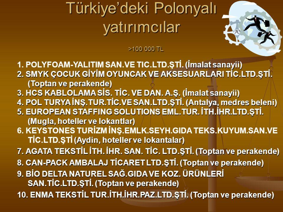 Türkiye'deki Polonyalı yatırımcılar >100 000 TL