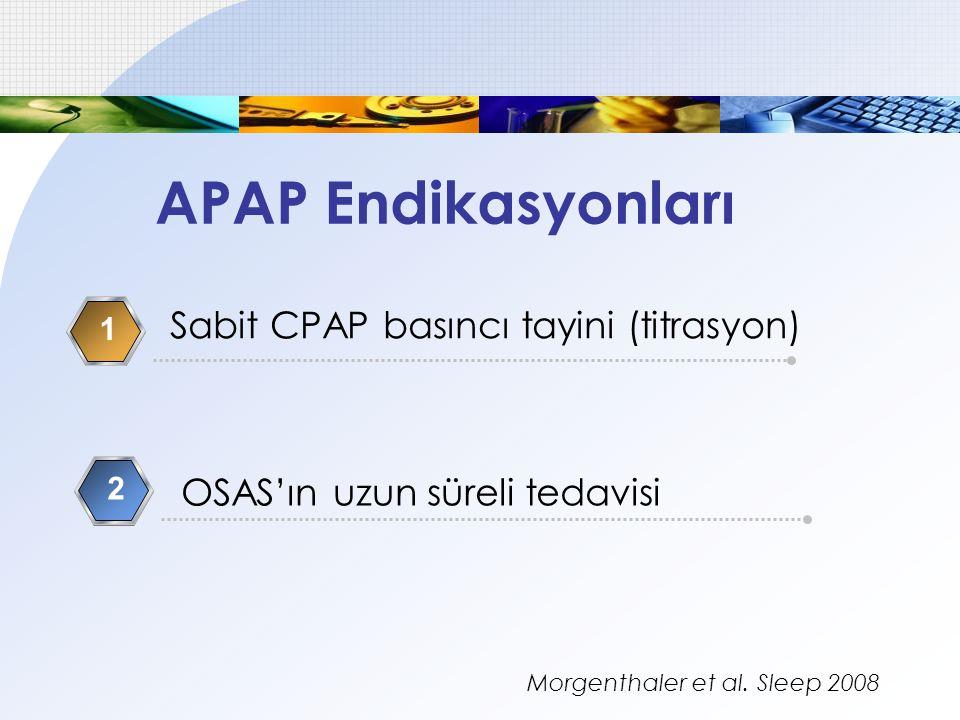 APAP Endikasyonları Sabit CPAP basıncı tayini (titrasyon)