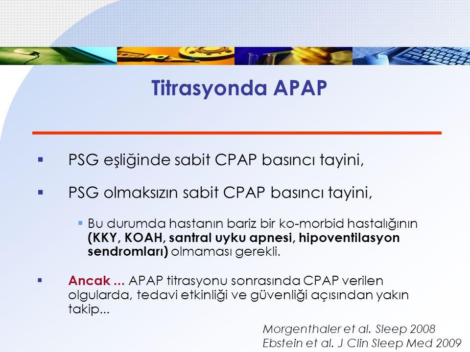 Titrasyonda APAP PSG eşliğinde sabit CPAP basıncı tayini,