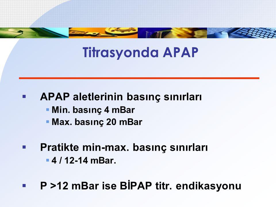 Titrasyonda APAP APAP aletlerinin basınç sınırları
