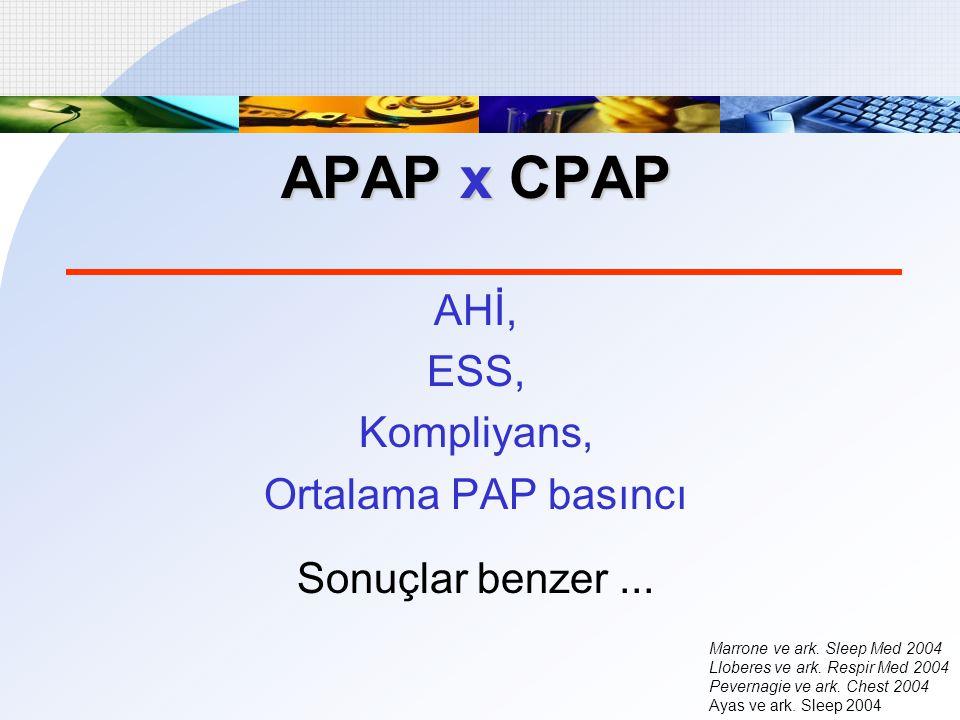 APAP x CPAP AHİ, ESS, Kompliyans, Ortalama PAP basıncı