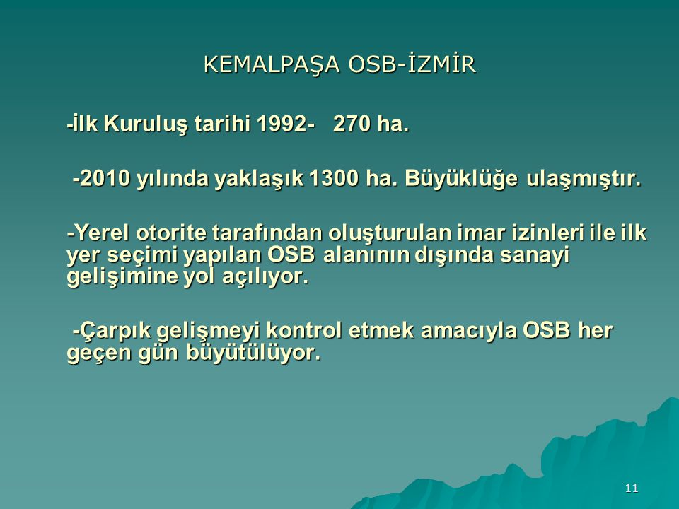 -2010 yılında yaklaşık 1300 ha. Büyüklüğe ulaşmıştır.