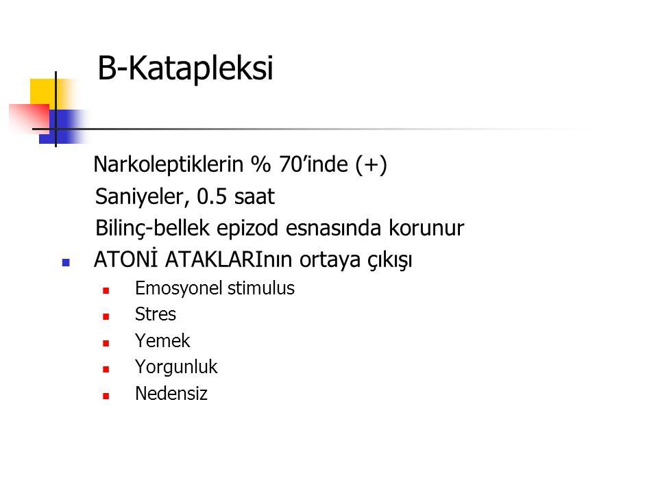 B-Katapleksi Narkoleptiklerin % 70'inde (+) Saniyeler, 0.5 saat