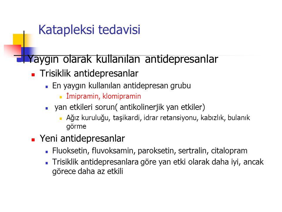 Katapleksi tedavisi Yaygın olarak kullanılan antidepresanlar