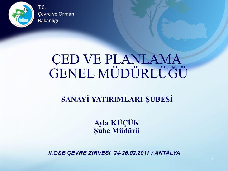 SANAYİ YATIRIMLARI ŞUBESİ II.OSB ÇEVRE ZİRVESİ 24-25.02.2011 / ANTALYA