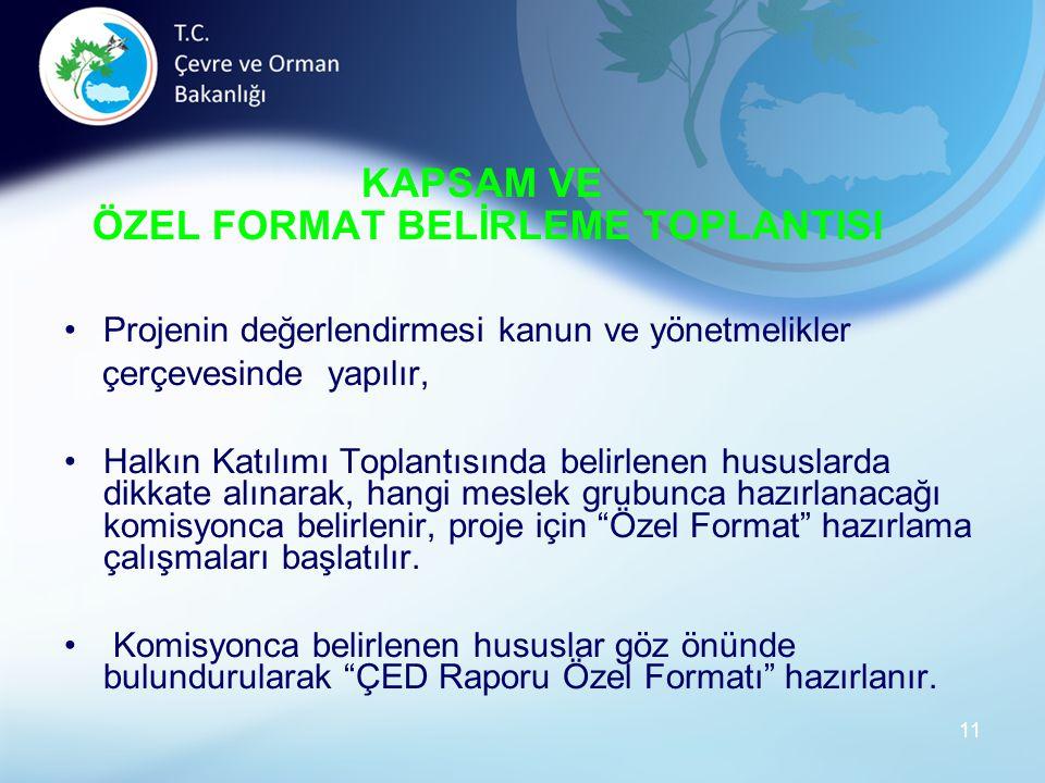 KAPSAM VE ÖZEL FORMAT BELİRLEME TOPLANTISI