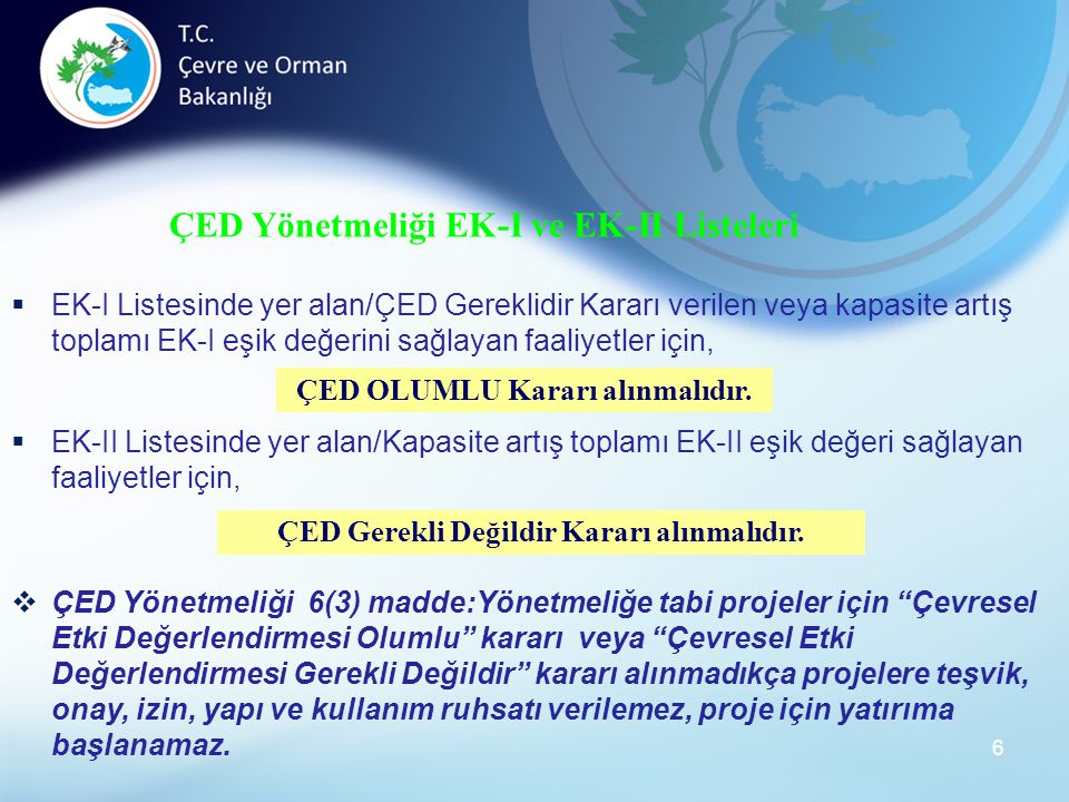ÇED Yönetmeliği EK-I ve EK-II Listeleri