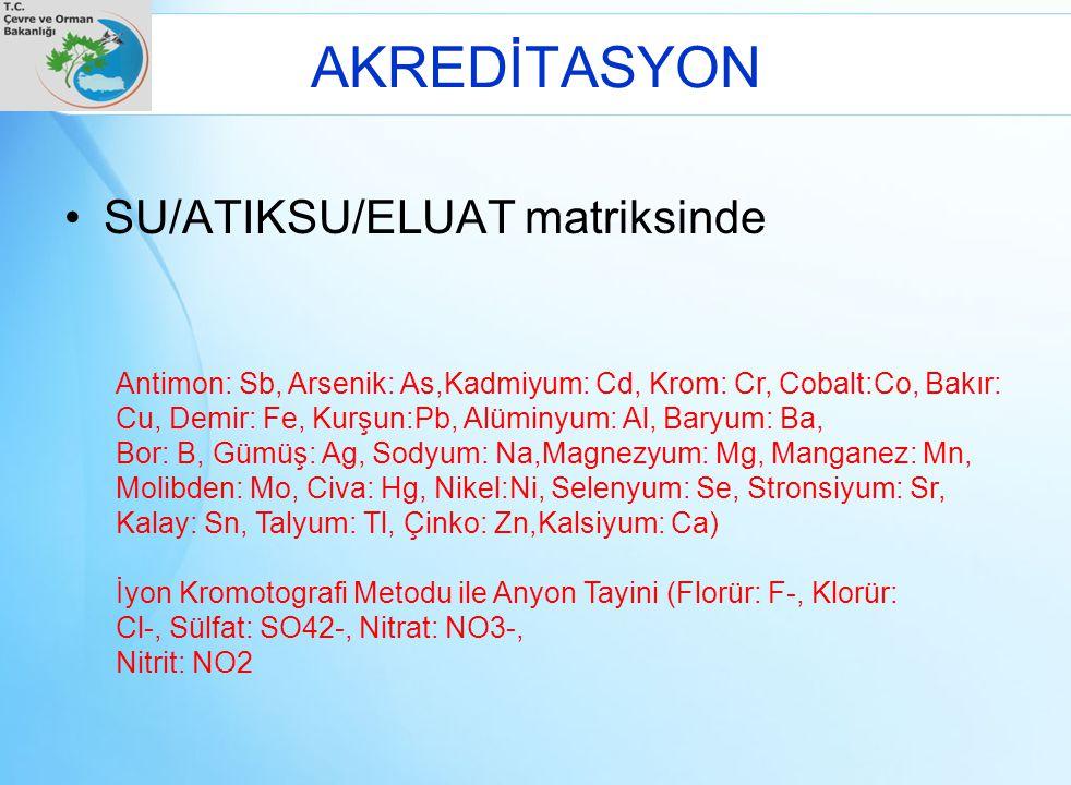 AKREDİTASYON SU/ATIKSU/ELUAT matriksinde