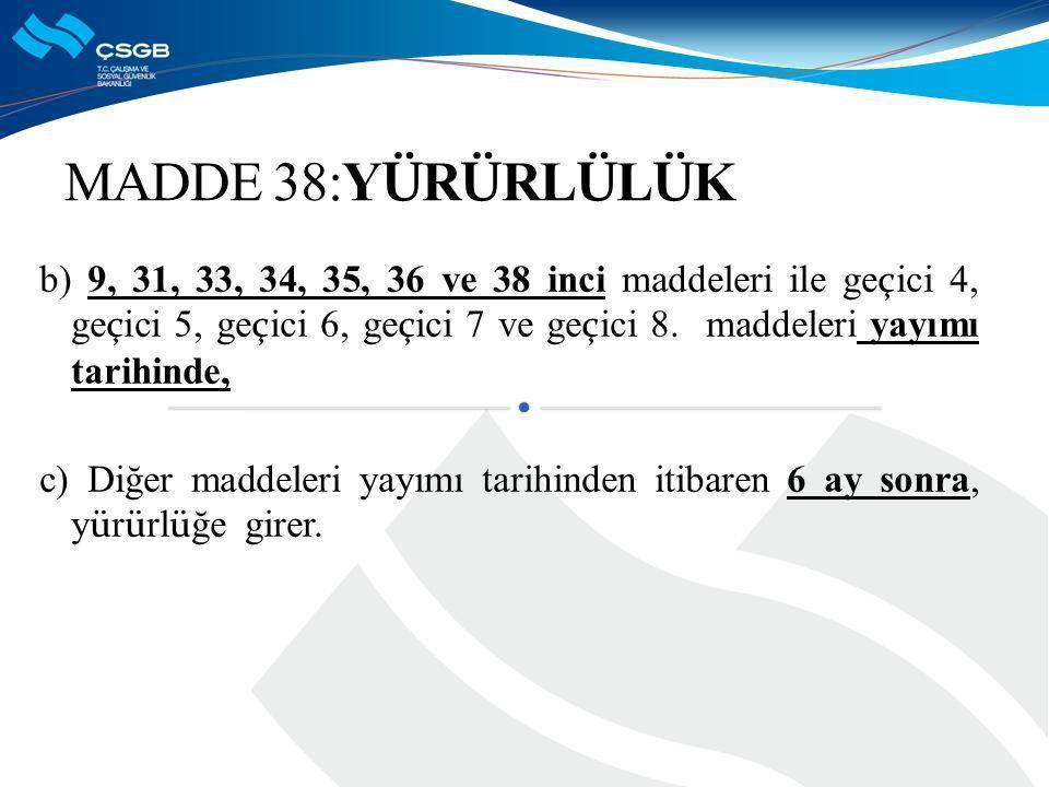 MADDE 38:YÜRÜRLÜLÜK