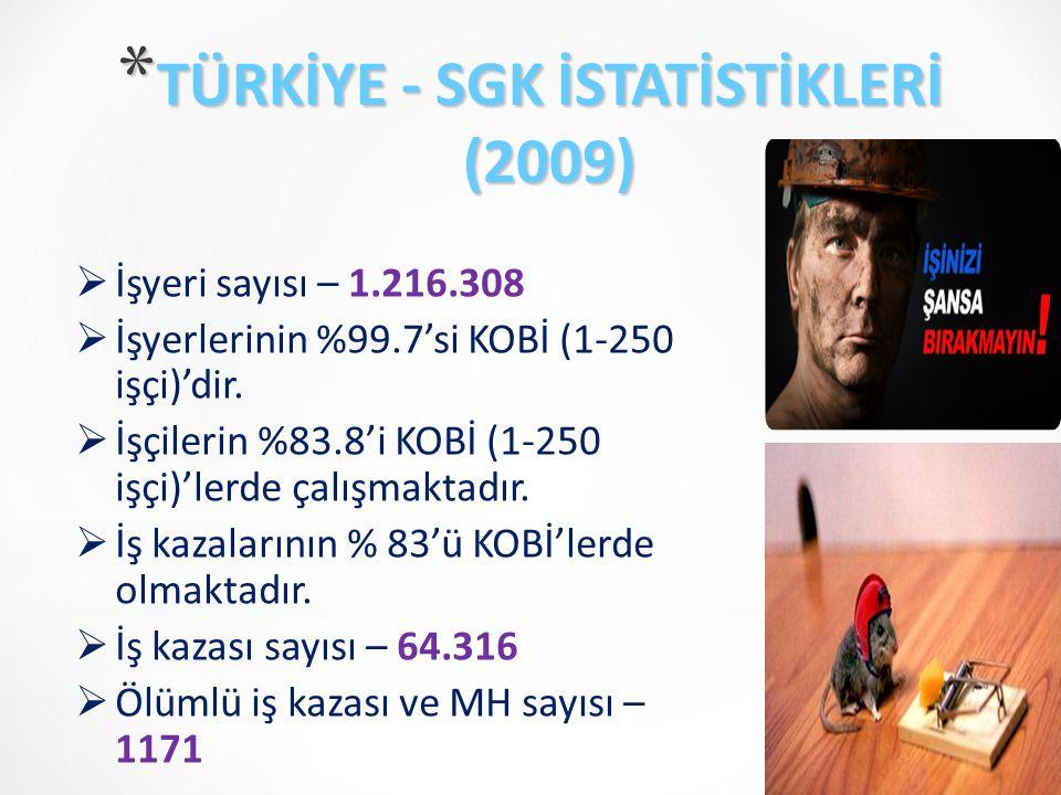 TÜRKİYE - SGK İSTATİSTİKLERİ (2009)