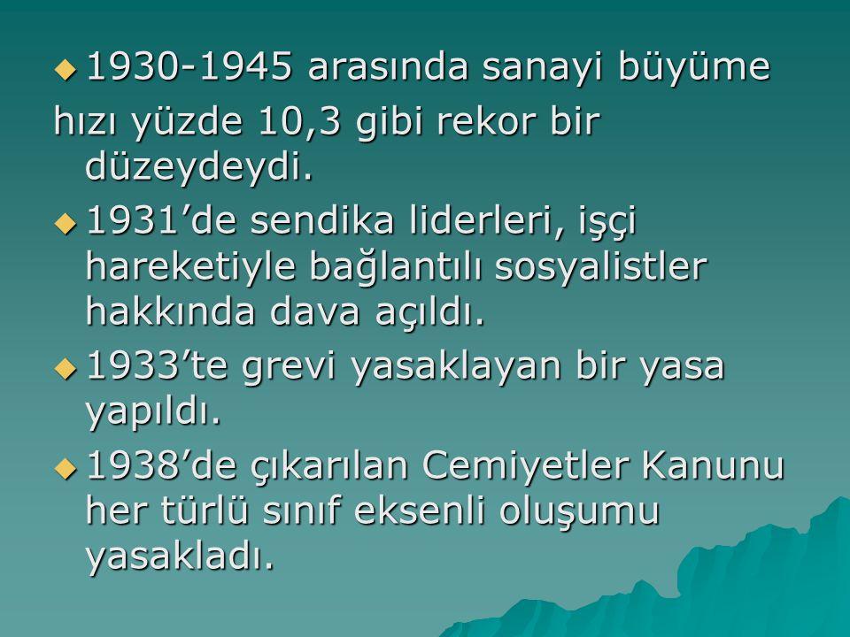 1930-1945 arasında sanayi büyüme