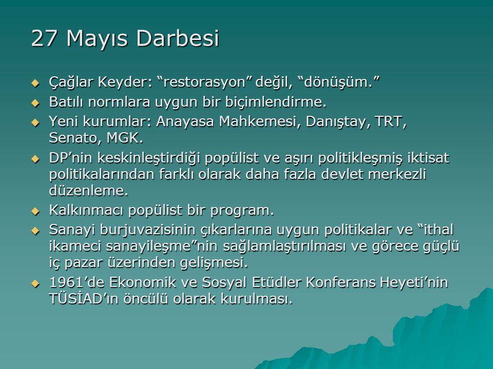 27 Mayıs Darbesi Çağlar Keyder: restorasyon değil, dönüşüm.