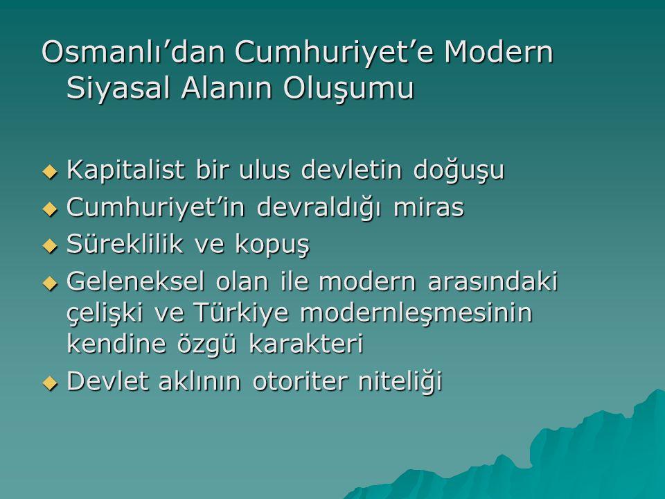 Osmanlı'dan Cumhuriyet'e Modern Siyasal Alanın Oluşumu