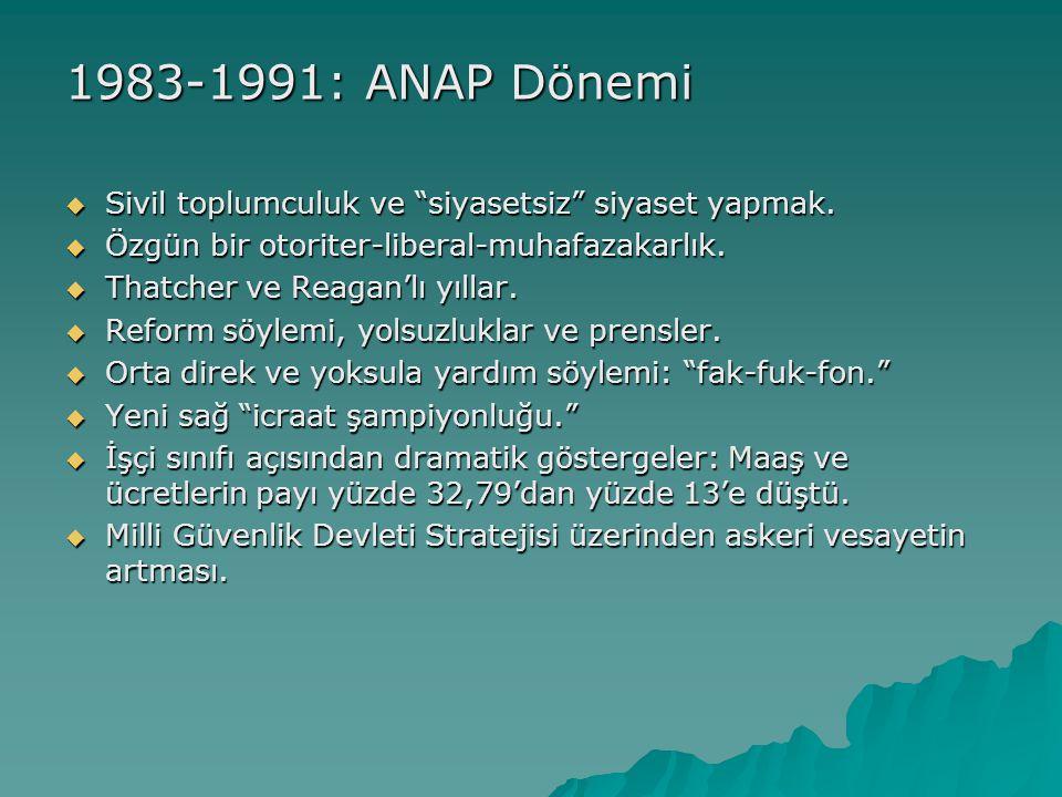 1983-1991: ANAP Dönemi Sivil toplumculuk ve siyasetsiz siyaset yapmak. Özgün bir otoriter-liberal-muhafazakarlık.