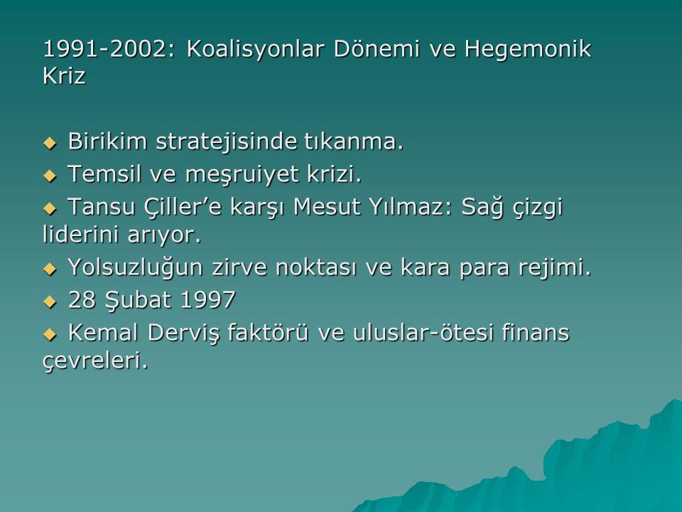 1991-2002: Koalisyonlar Dönemi ve Hegemonik Kriz