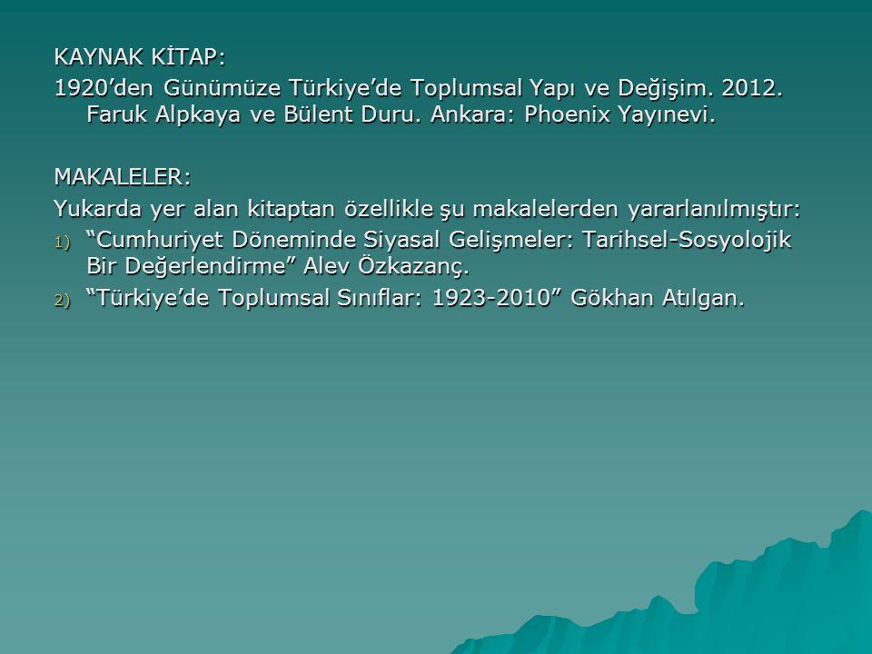 KAYNAK KİTAP: 1920'den Günümüze Türkiye'de Toplumsal Yapı ve Değişim. 2012. Faruk Alpkaya ve Bülent Duru. Ankara: Phoenix Yayınevi.