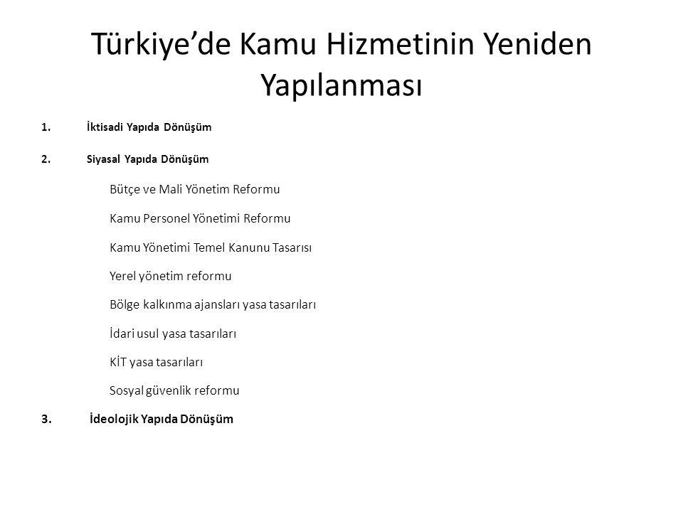 Türkiye'de Kamu Hizmetinin Yeniden Yapılanması