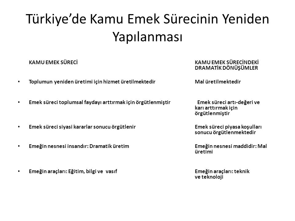 Türkiye'de Kamu Emek Sürecinin Yeniden Yapılanması