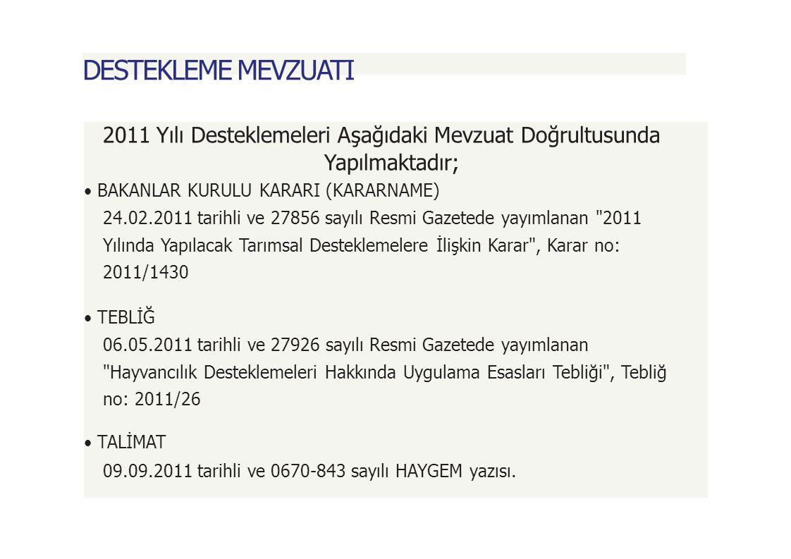 DESTEKLEME MEVZUATI 2011 Yılı Desteklemeleri Aşağıdaki Mevzuat Doğrultusunda. Yapılmaktadır; • BAKANLAR KURULU KARARI (KARARNAME)