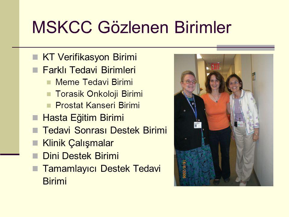 MSKCC Gözlenen Birimler