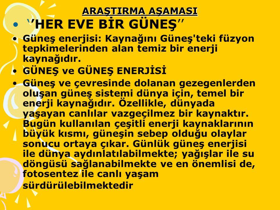''HER EVE BİR GÜNEŞ'' ARAŞTIRMA AŞAMASI