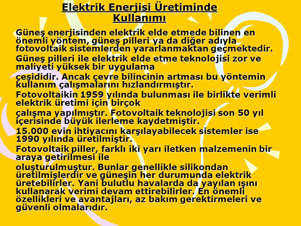 Elektrik Enerjisi Üretiminde Kullanımı