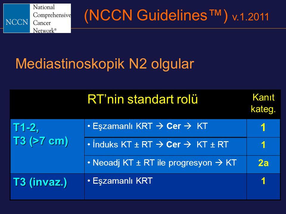 (NCCN Guidelines™) v.1.2011 Mediastinoskopik N2 olgular