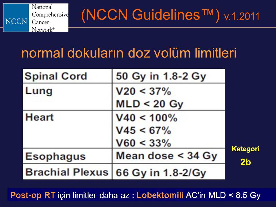 (NCCN Guidelines™) v.1.2011 normal dokuların doz volüm limitleri 2b