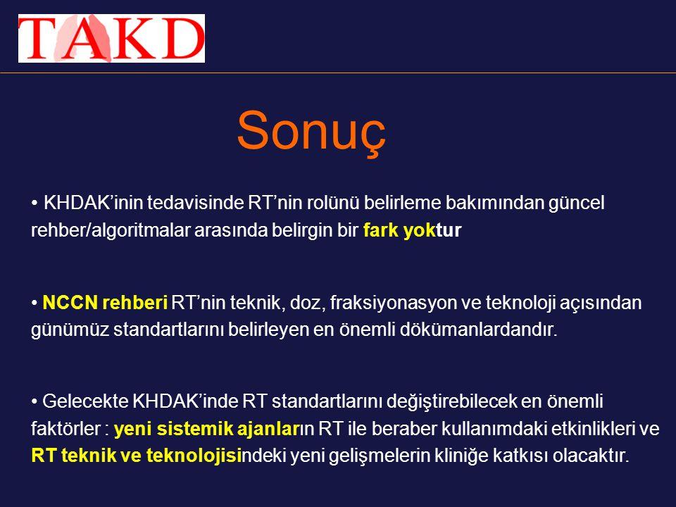 Sonuç KHDAK'inin tedavisinde RT'nin rolünü belirleme bakımından güncel rehber/algoritmalar arasında belirgin bir fark yoktur.