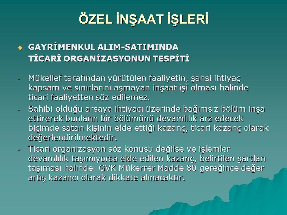 ÖZEL İNŞAAT İŞLERİ GAYRİMENKUL ALIM-SATIMINDA