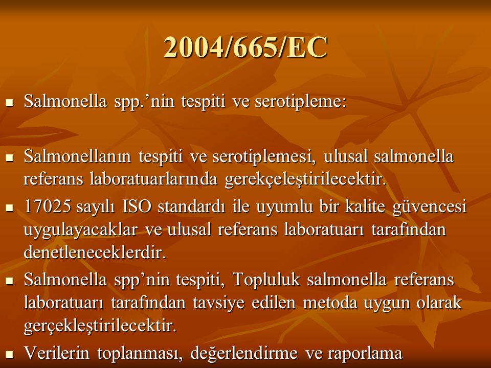 2004/665/EC Salmonella spp.'nin tespiti ve serotipleme: