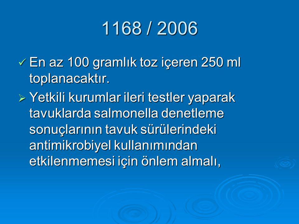 1168 / 2006 En az 100 gramlık toz içeren 250 ml toplanacaktır.