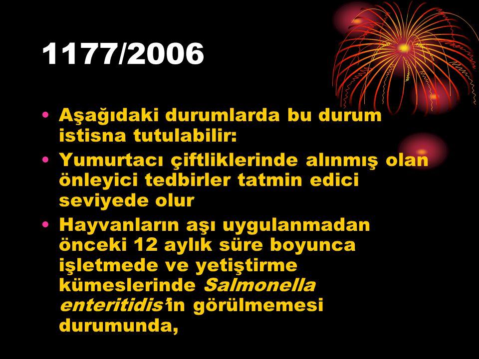 1177/2006 Aşağıdaki durumlarda bu durum istisna tutulabilir: