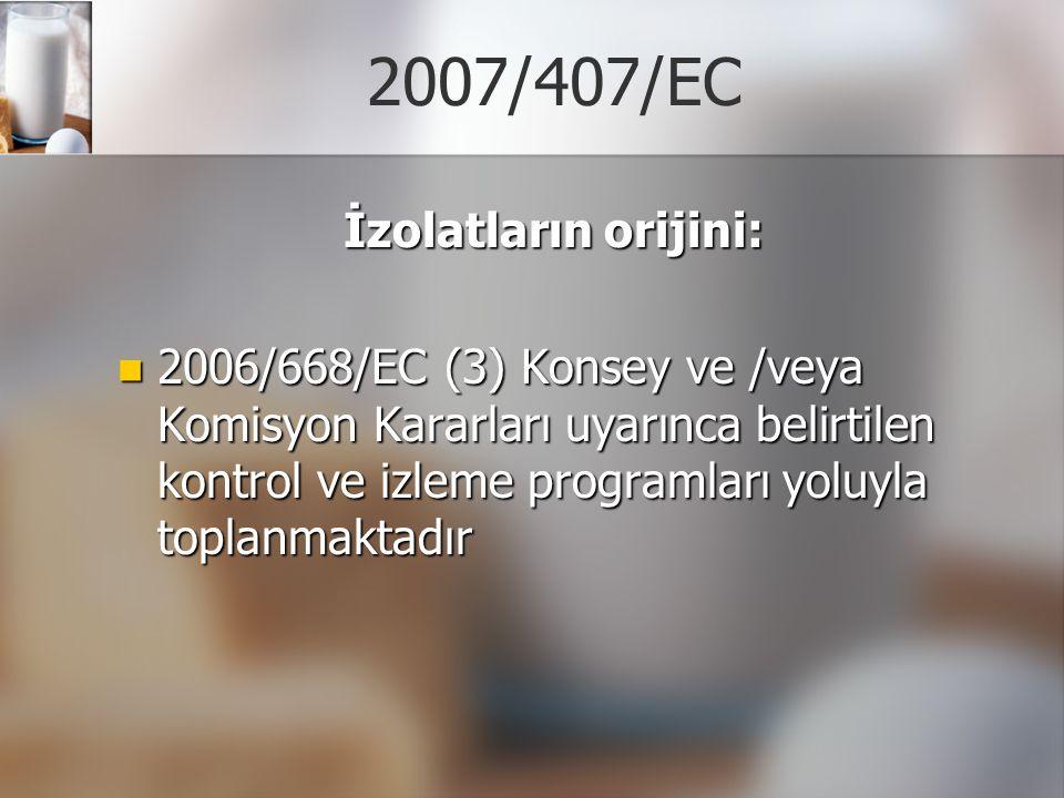 2007/407/EC İzolatların orijini:
