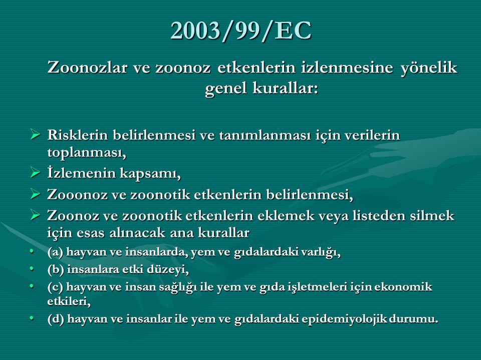 Zoonozlar ve zoonoz etkenlerin izlenmesine yönelik genel kurallar: