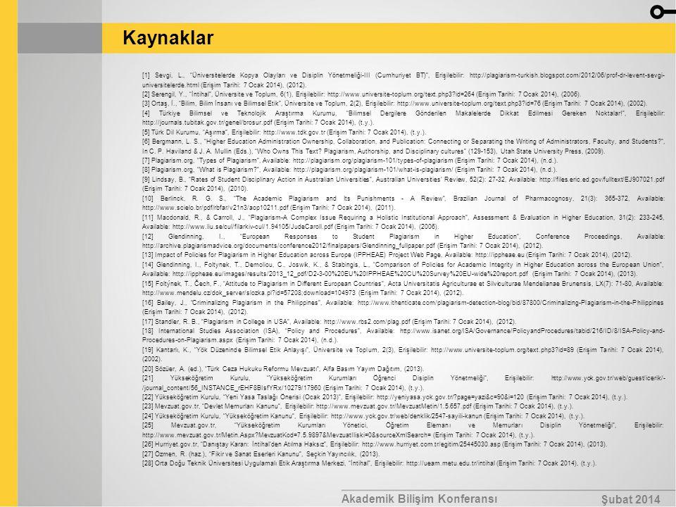 Kaynaklar Akademik Bilişim Konferansı Şubat 2014