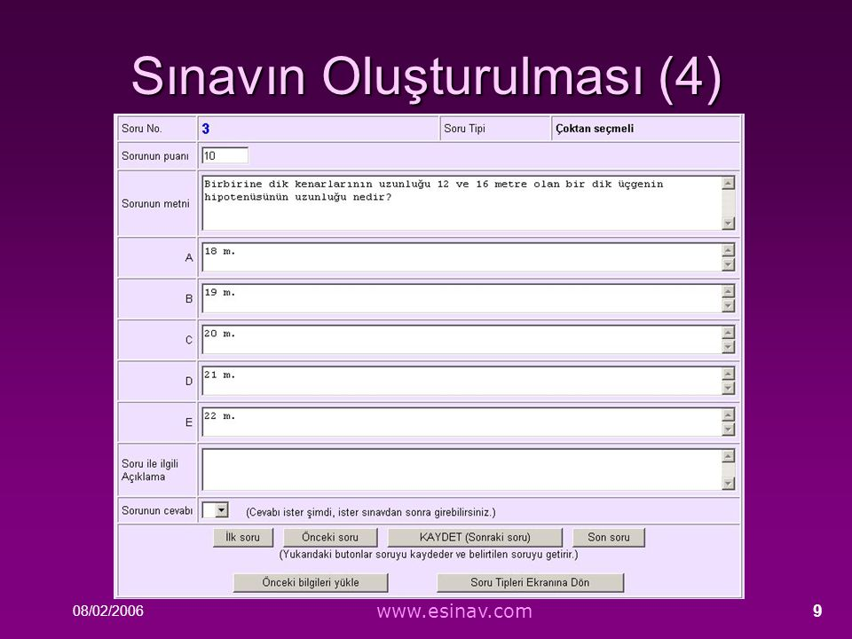 Sınavın Oluşturulması (4)