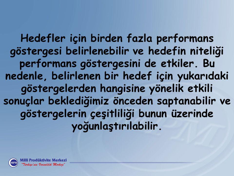 Hedefler için birden fazla performans göstergesi belirlenebilir ve hedefin niteliği performans göstergesini de etkiler.