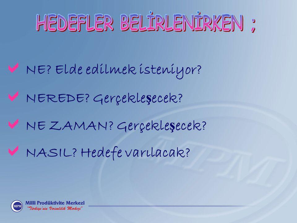 HEDEFLER BELİRLENİRKEN ;