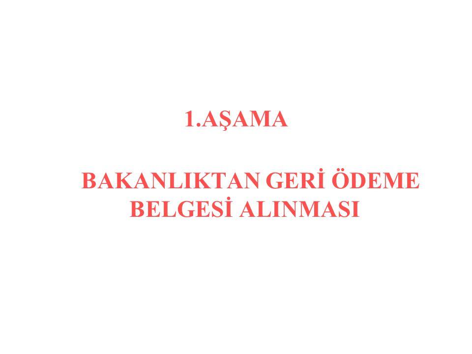 BAKANLIKTAN GERİ ÖDEME BELGESİ ALINMASI