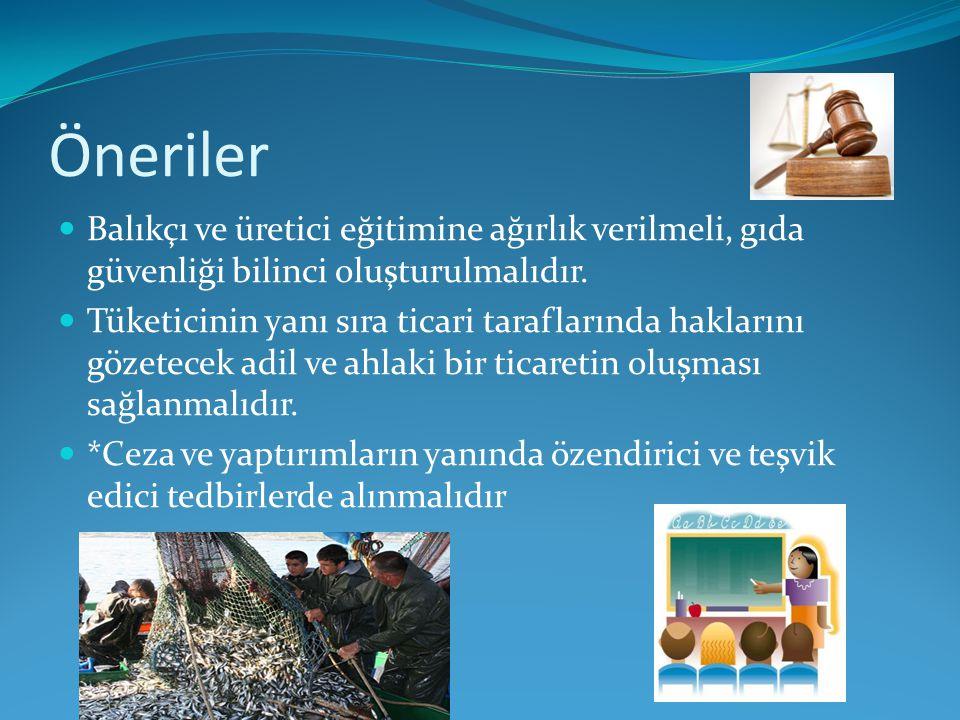 Öneriler Balıkçı ve üretici eğitimine ağırlık verilmeli, gıda güvenliği bilinci oluşturulmalıdır.