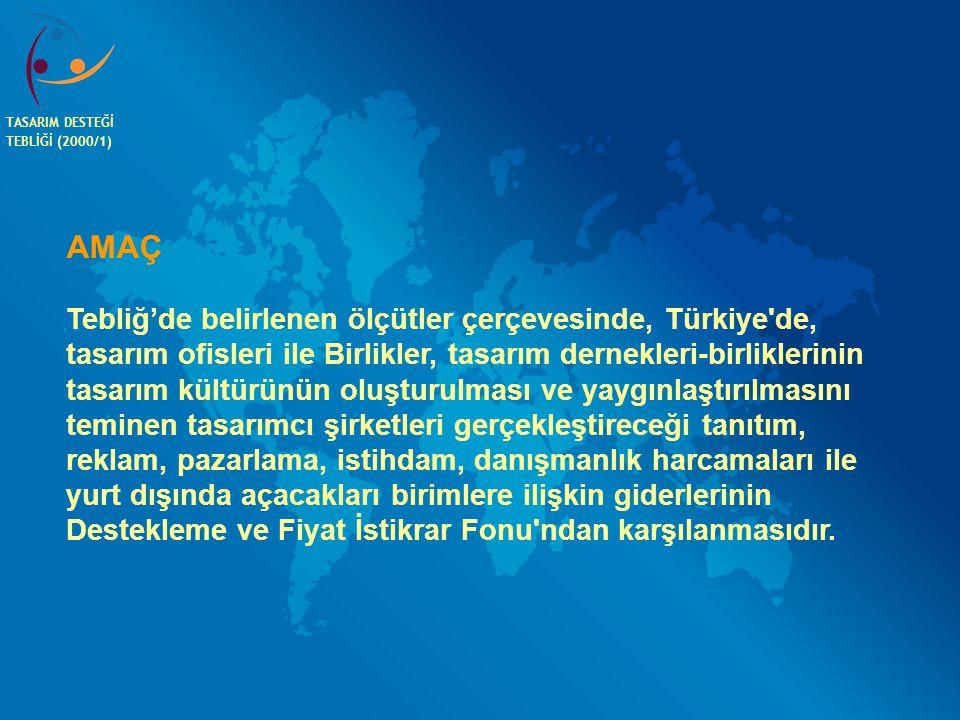 TASARIM DESTEĞİ TEBLİĞİ (2000/1) AMAÇ.