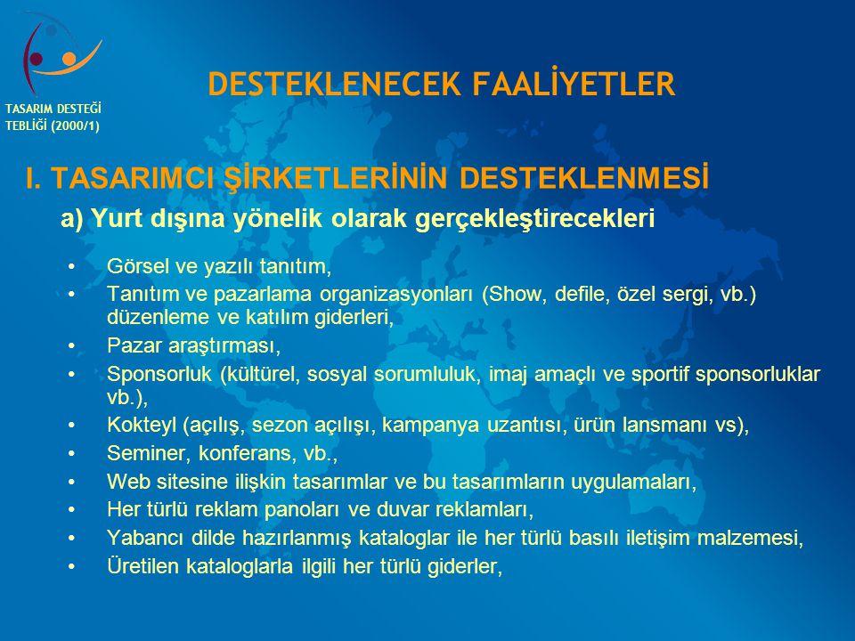 DESTEKLENECEK FAALİYETLER