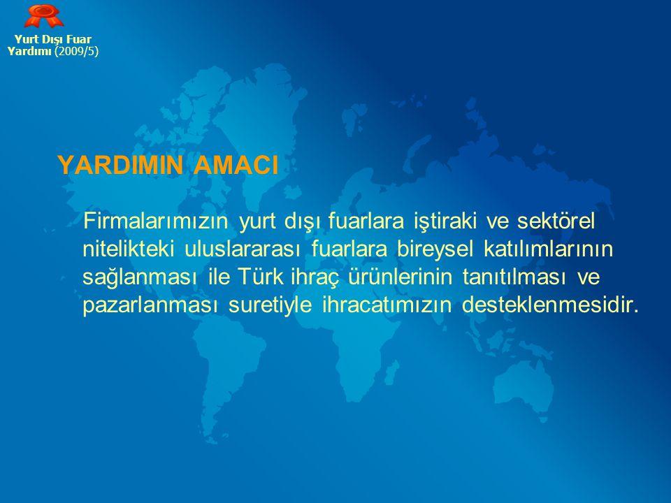 Yurt Dışı Fuar Yardımı (2009/5) YARDIMIN AMACI.