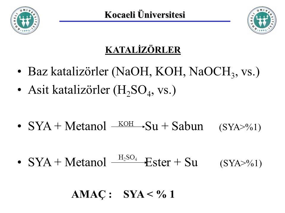 Baz katalizörler (NaOH, KOH, NaOCH3, vs.)