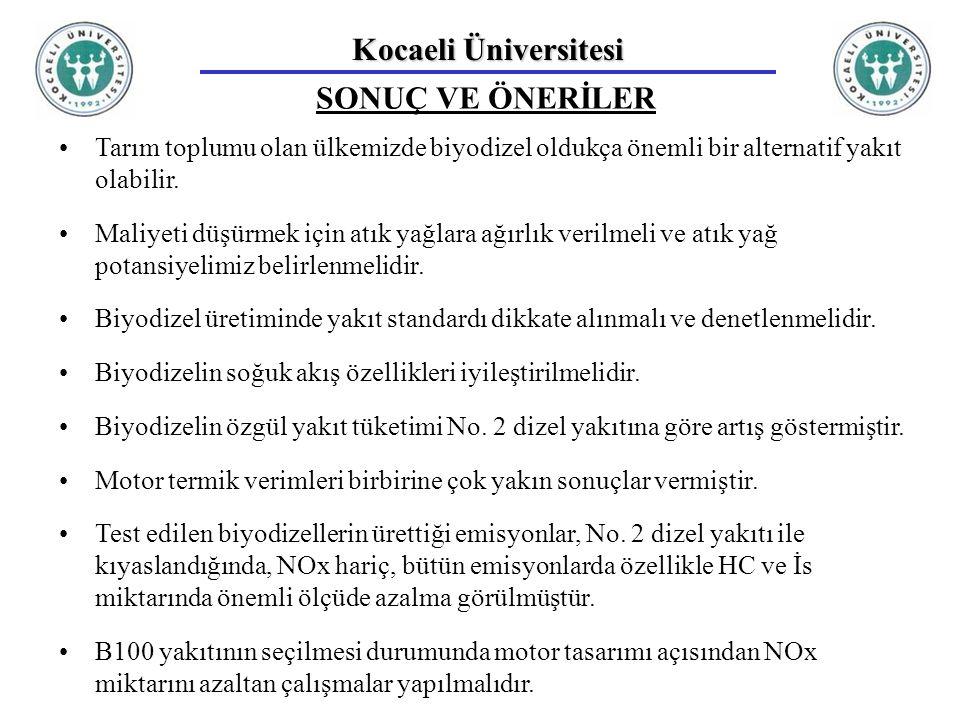 Kocaeli Üniversitesi SONUÇ VE ÖNERİLER