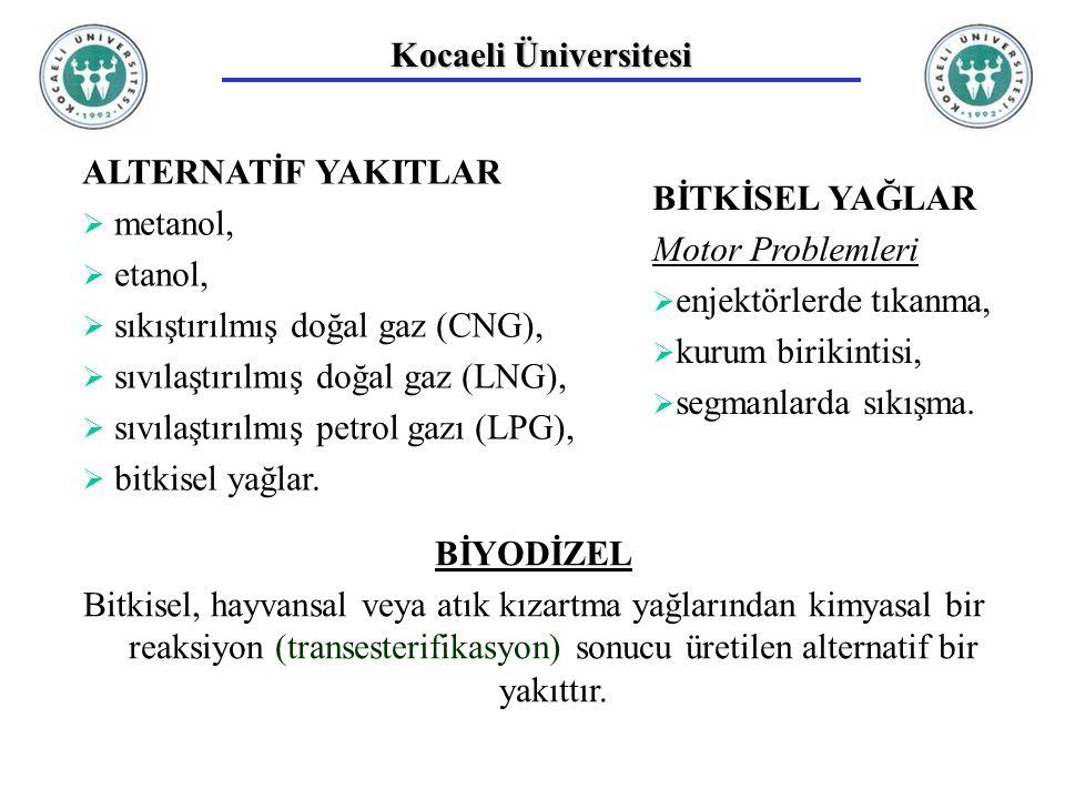 Kocaeli Üniversitesi ALTERNATİF YAKITLAR. metanol, etanol, sıkıştırılmış doğal gaz (CNG), sıvılaştırılmış doğal gaz (LNG),