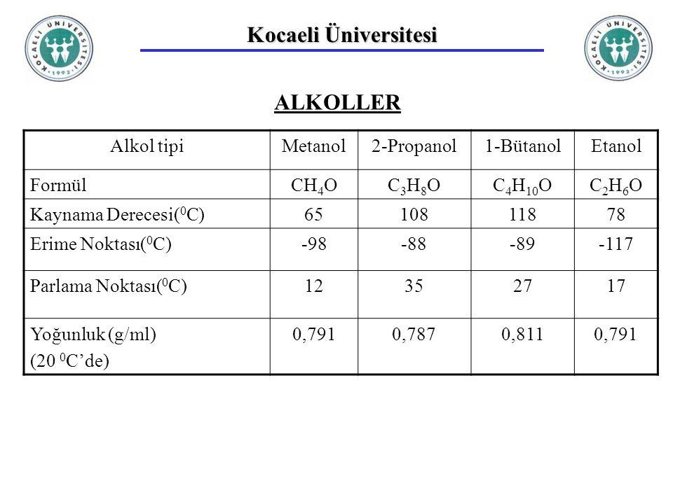 Kocaeli Üniversitesi ALKOLLER