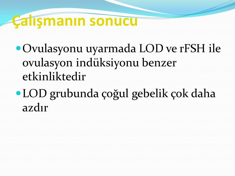 Çalışmanın sonucu Ovulasyonu uyarmada LOD ve rFSH ile ovulasyon indüksiyonu benzer etkinliktedir.