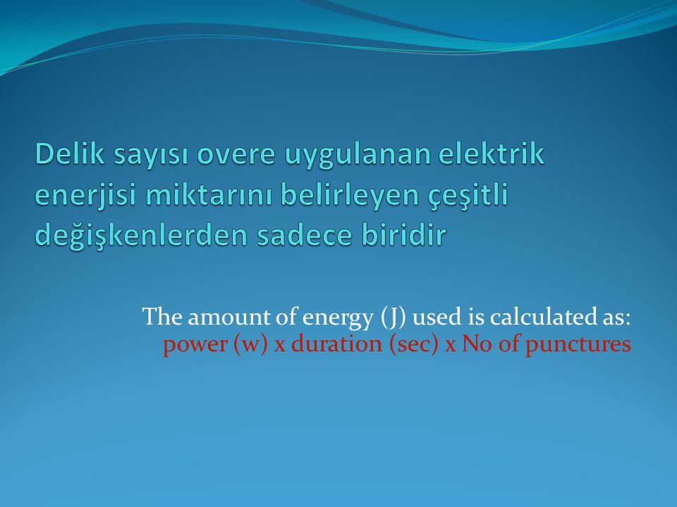 Delik sayısı overe uygulanan elektrik enerjisi miktarını belirleyen çeşitli değişkenlerden sadece biridir
